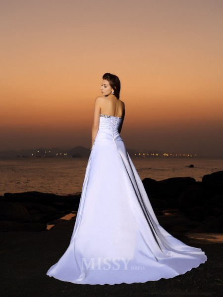 A-Line/Princess Strapless Satin Chapel Train Wedding Dress With Ruffles