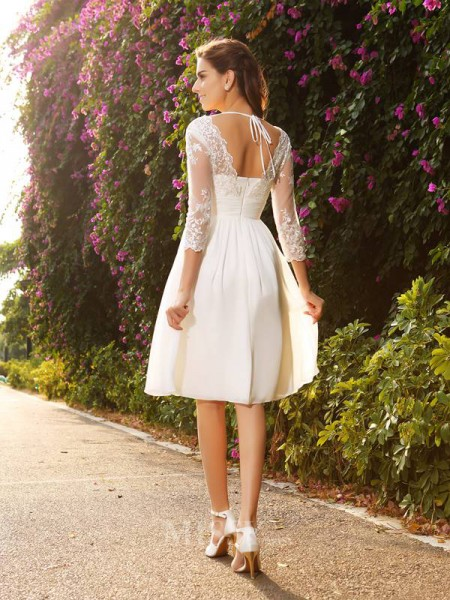 A-Line/Princess V-neck Chiffon 3/4 Sleeves Knee-length Lace Wedding Dress With Beading