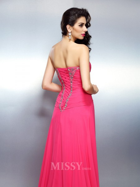 A-Line/Princess Sweetheart Sweep/Brush Train Chiffon Dress With Ruffles