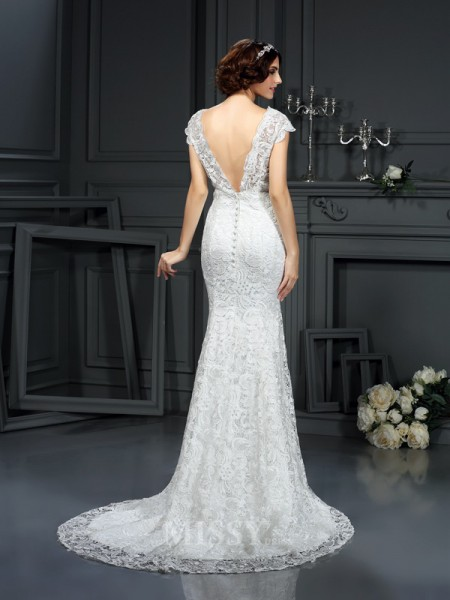 Trumpet/Mermaid V-neck Lace Court Train Wedding Dress With Beading