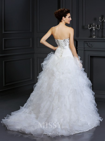 Ball Gown Strapless Chapel Train Organza Wedding Dress With Rhinestone