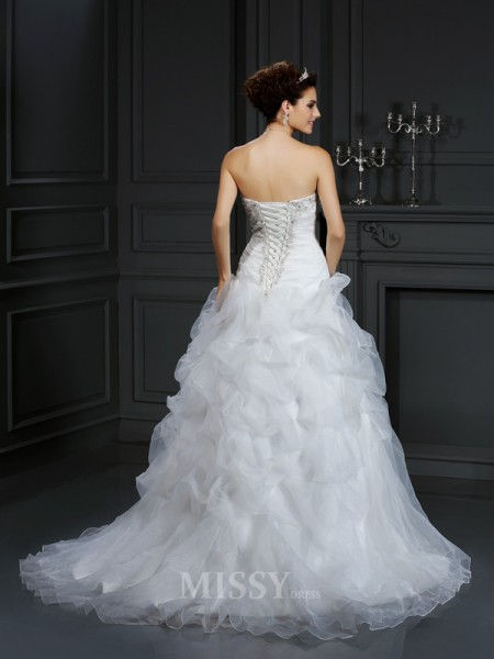 Ball Gown Strapless Court Train Organza Wedding Dress With Ruched