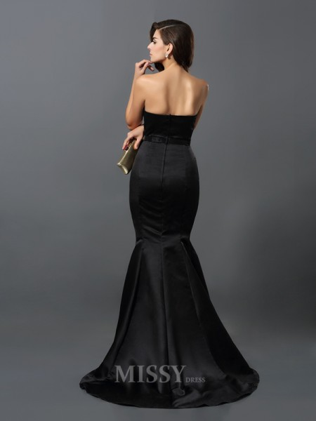 Sheath/Column Strapless Satin Floor-Length Dress With Ruched Sash/Ribbon/Belt