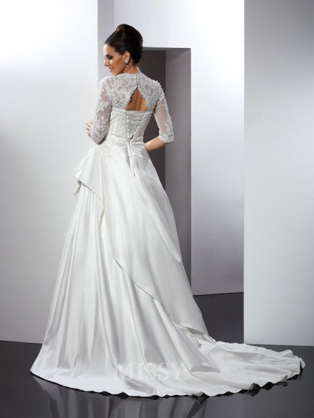 A-Line/Princess V-neck 1/2 Sleeves Chapel Train Satin Wedding Dress With Lace