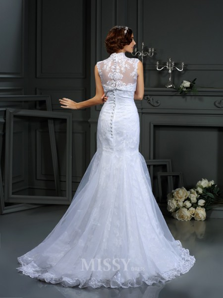 Trumpet/Mermaid Sweetheart Lace Court Train Satin Wedding Dress With Sash