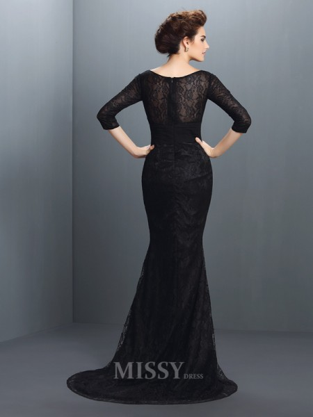 Trumpet/Mermaid Bateau 3/4 Sleeves Lace Sweep/Brush Train Elastic Woven Satin Dress With Beading