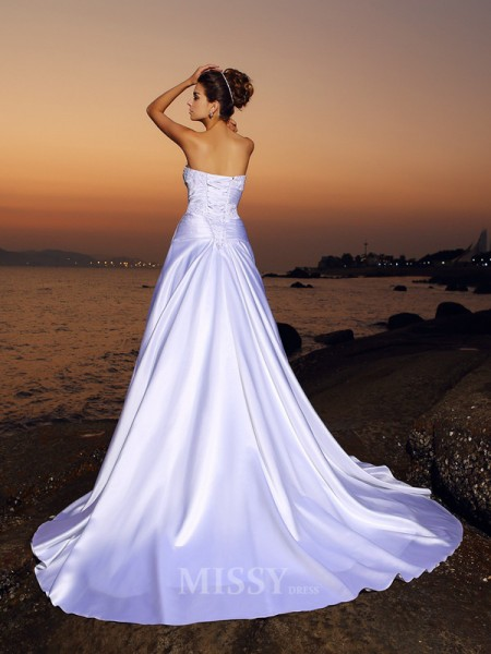 Ball Gown Strapless Satin Court Train Wedding Dress With Ruffles Applique