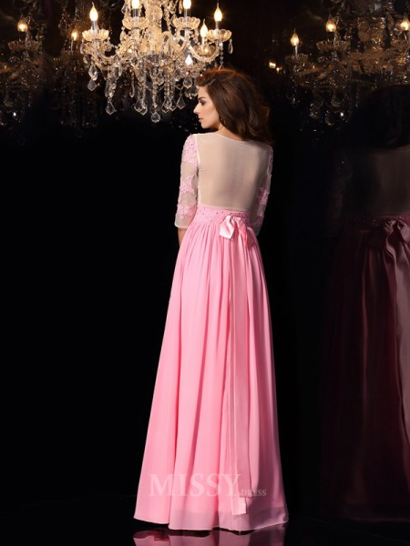 A-Line/Princess 1/2 Sleeves Silk like Satin Scoop Applique Floor-Length Dress With Ruched