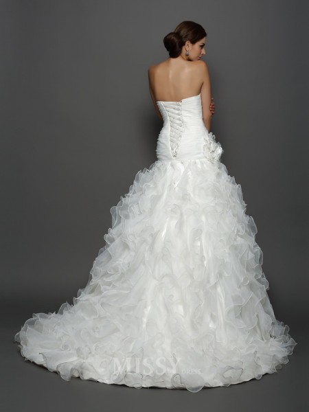 Ball Gown Strapless Organza Cathedral Train Hand-Made Flower Wedding Dress With Lace