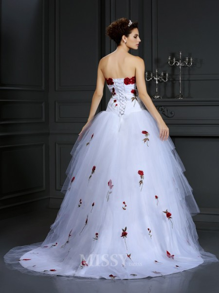 Ball Gown Strapless Court Train Satin Wedding Dress With Embroidery