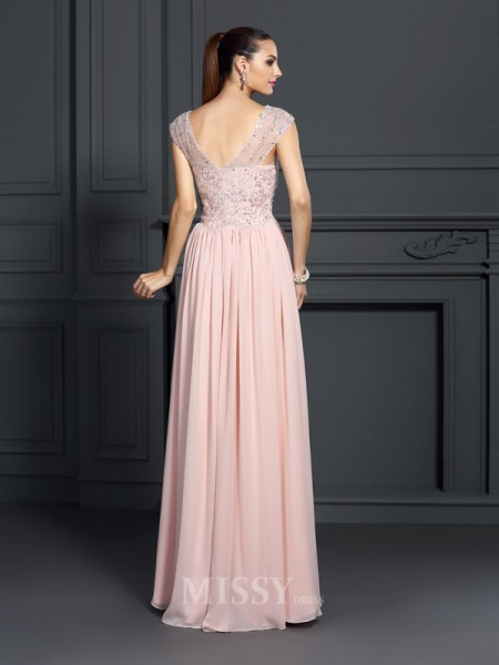 A-Line/Princess Straps Floor-Length Chiffon Dress With Ruffles Applique