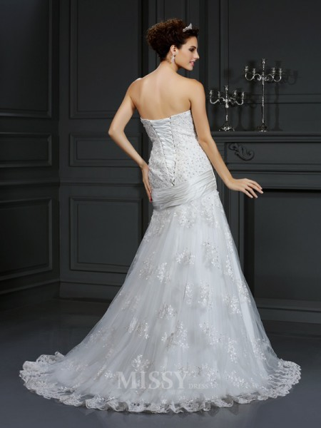 Sheath/Column Strapless Court Train Satin Wedding Dress With Pleats Applique