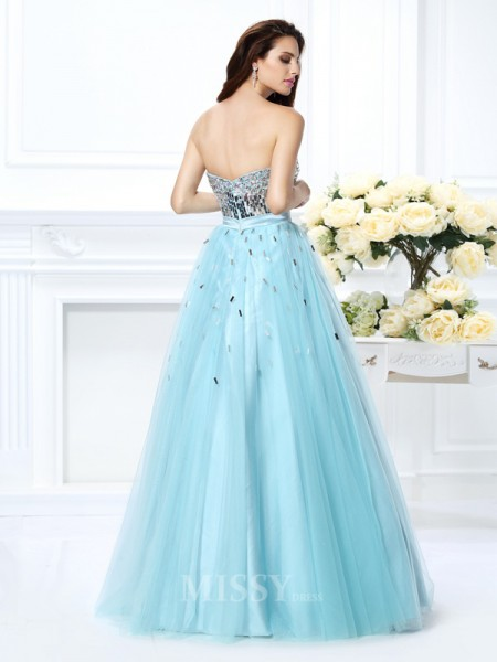 Ball Gown Sweetheart Floor-Length Satin Dress With Beading Paillette