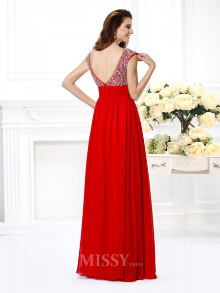 A-Line/Princess Straps Floor-Length Chiffon Dress With Embroidery