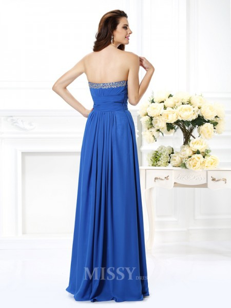 A-Line/Princess V-neck Beading Floor-Length Chiffon Dress With Embroidery