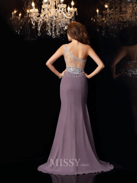 Trumpet/Mermaid Chiffon One-Shoulder Rhinestone Sweep/Brush Train Dress With Pleats
