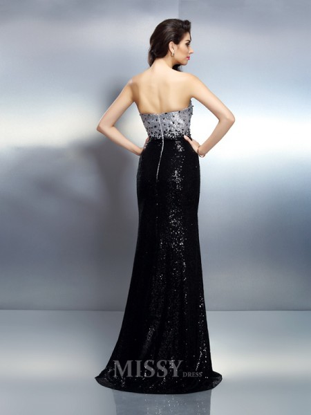 Trumpet/Mermaid Strapless Sweep/Brush Train Sequins Dress With Ruffles Sequin