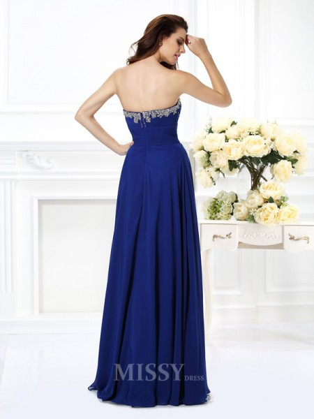 A-Line/Princess Sweetheart Beading Floor-Length Chiffon Dress With Sash