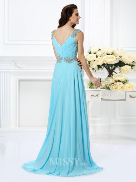 A-Line/Princess V-neck Floor-Length Chiffon Dress With Pleats