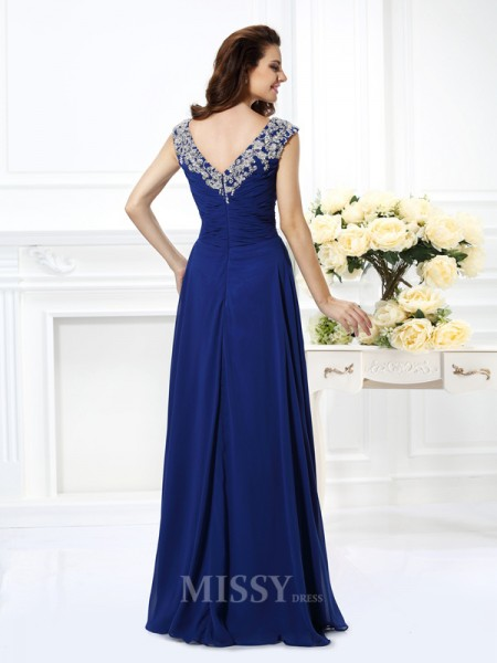 A-Line/Princess Scoop Floor-Length Chiffon Prom Dress With Beading