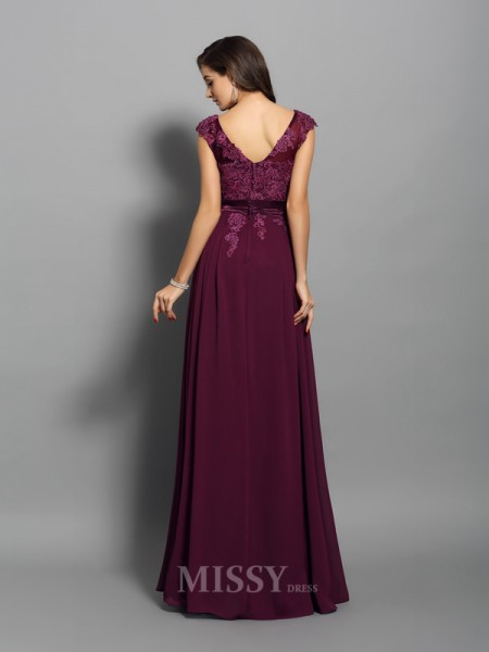 A-Line/Princess Chiffon Scoop Floor-Length Dress With Beading