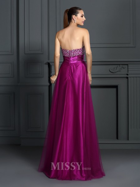 A-Line/Princess Sweetheart Hand-Made Flower Floor-Length Elastic Woven Satin Dress With Ruffles