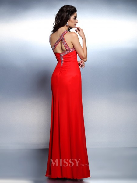Trumpet/Mermaid One-Shoulder Floor-Length Chiffon Dress With Beading