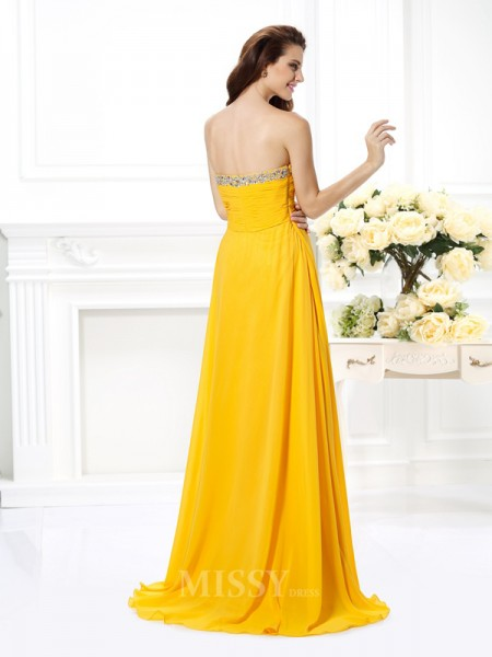 A-Line/Princess Sweetheart Beading Floor-Length Chiffon Dress With Beading