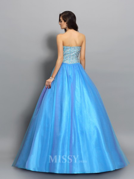 Ball Gown Elastic Woven Satin Sweetheart Floor-Length Beading Dress With Beading