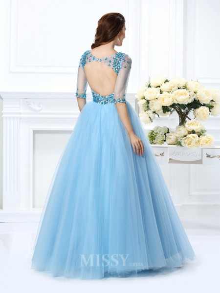 Ball Gown V-neck 1/2 Sleeves Floor-Length Satin Dress With Ruched