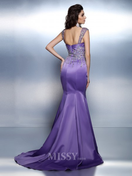 Trumpet/Mermaid Sweetheart Straps Sweep/Brush Train Satin Dress With Embroidery