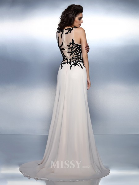 A-Line/Princess Bateau Floor-Length Chiffon Dress With Ruffles Applique