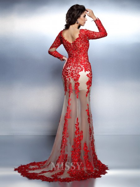 Trumpet/Mermaid V-neck Long Sleeves Sweep/Brush Train Lace Dress With Beading