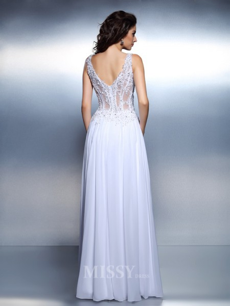 A-Line/Princess Scoop Floor-Length Chiffon Dress With Lace