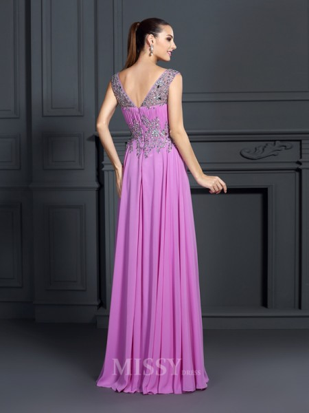 A-Line/Princess Straps Floor-Length Chiffon Dress With Ruffles Beading