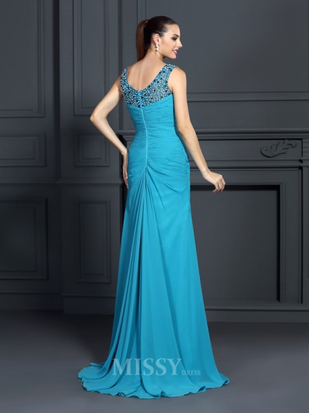 Trumpet/Mermaid Straps Sweep/Brush Train Chiffon Dress With Embroidery Ruffles