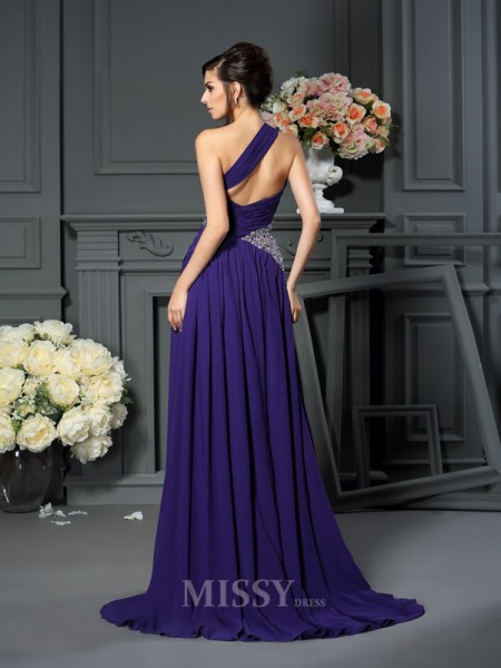 A-Line/Princess One-Shoulder Chiffon Sweep/Brush Train Dress With Ruched