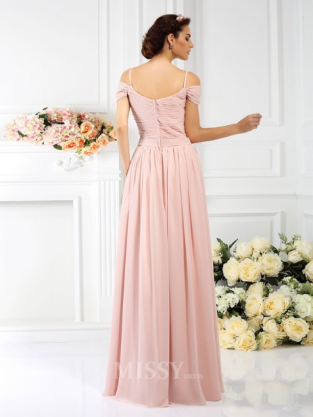A-Line/Princess Spaghetti Straps Floor-Length Chiffon Bridesmaid Dress With Sash Pleats