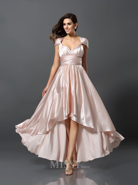 Sheath/Column Asymmetrical Silk like Satin Convertible Dress With Beading