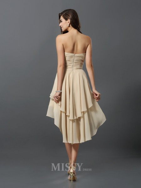 A-Line/Princess Sweetheart Chiffon Asymmetrical Bridesmaid Dress With Rhinestone