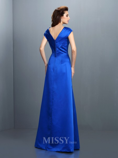 A-Line/Princess V-neck Floor-Length Satin Dress With Applique