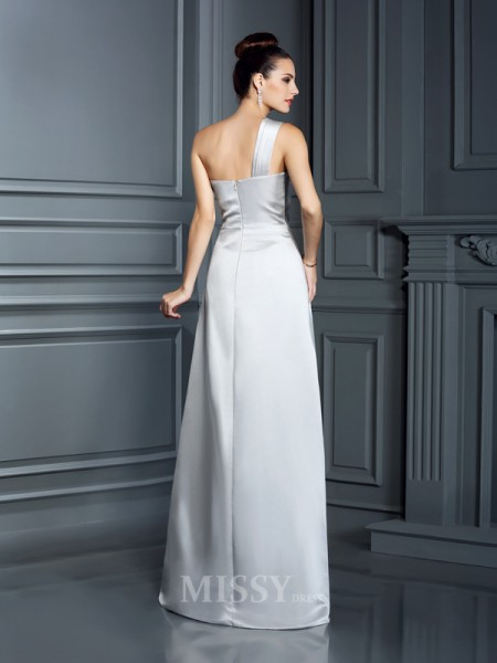 A-Line/Princess One-Shoulder Floor-Length Satin Dress With Lace