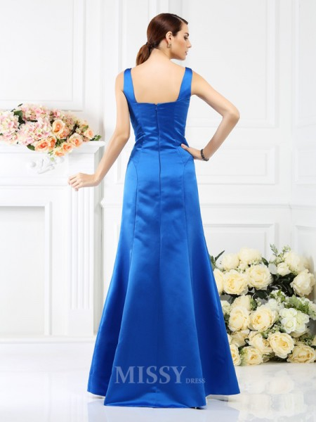 Sheath/Column Straps Floor-Length Satin Bridesmaid Dress With Embroidery