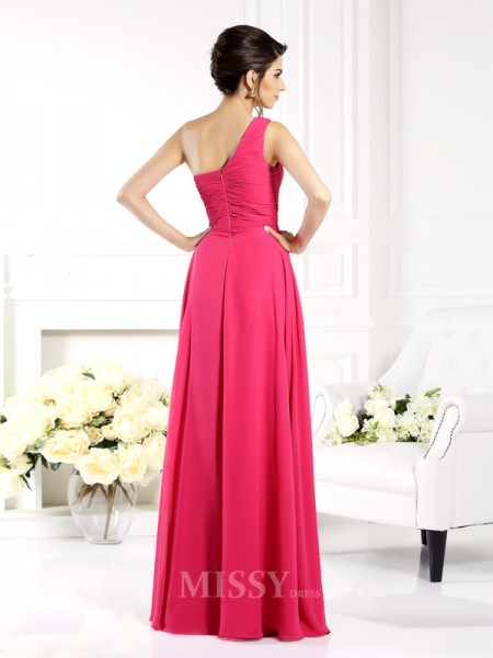 A-Line/Princess One-Shoulder Floor-Length Chiffon Dress With Beading Ruched
