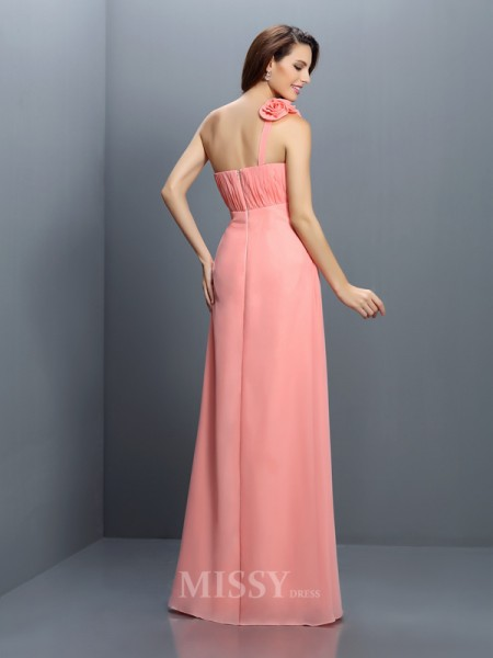 A-Line/Princess Strapless Floor-Length Chiffon Bridesmaid Dress With Lace