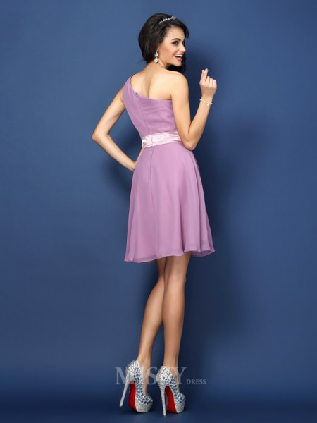 A-Line/Princess One-Shoulder Short/Mini Chiffon Bridesmaid Dress With Embroidery