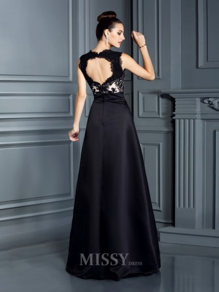 A-Line/Princess Straps Lace Floor-Length Satin Dress With Sash