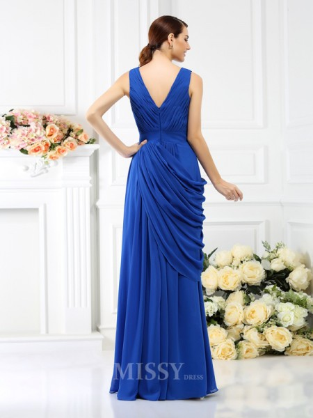A-Line/Princess V-neck Floor-Length Chiffon Bridesmaid Dress With Beading Pleats