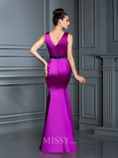 Trumpet/Mermaid V-neck Floor-Length Elastic Woven Satin Dress With Applique