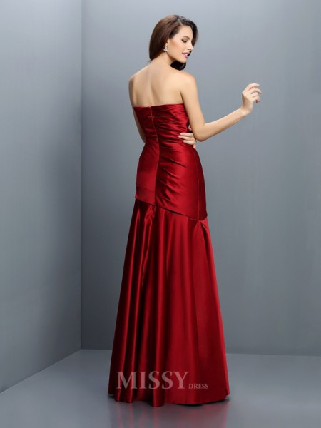 A-Line/Princess Strapless Floor-Length Satin Bridesmaid Dress With Embroidery